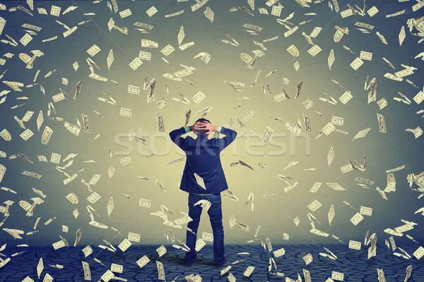 üzletember szemben fal pénz eső hátsó Stock fotó © ichiosea