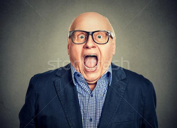 Closeup portrait surprised senior man Stock photo © ichiosea