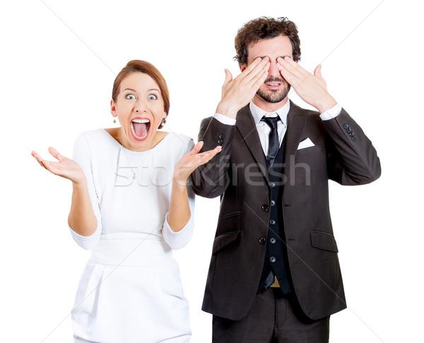 Izgatott feleség higgadt férj közelkép portré Stock fotó © ichiosea