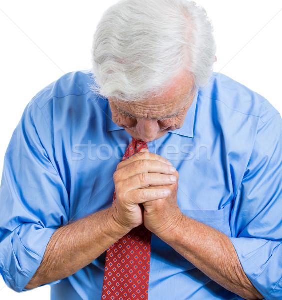 Idős férfi védőbeszéd közelkép portré idős idős Stock fotó © ichiosea