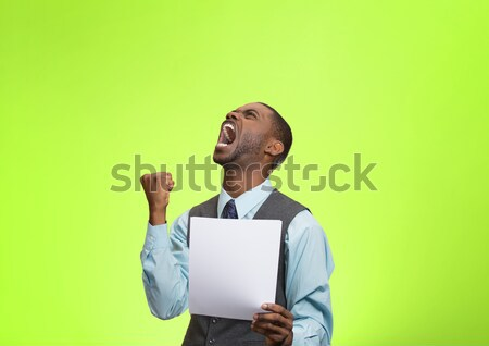 Angry customer, executive man screaming holding document, paper  Stock photo © ichiosea