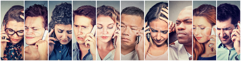 Multicultural group of sad people men and women talking on mobile phone  Stock photo © ichiosea