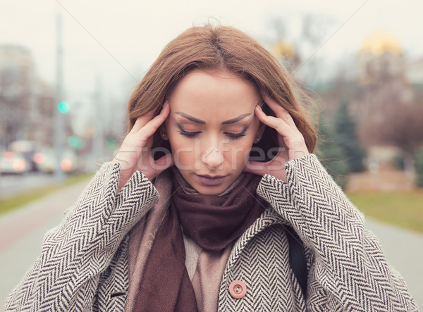 portrait stressed sad woman outdoors. City urban life style stress  Stock photo © ichiosea