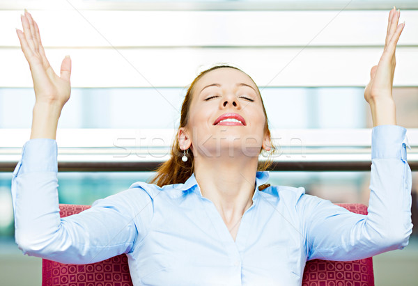 Stock photo: Business woman relaxing on armchair