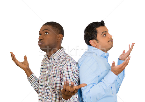 Stock photo: two frustrated men back to back