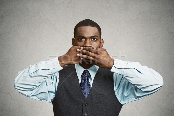 Man covers his mouth, speak no evil concept Stock photo © ichiosea