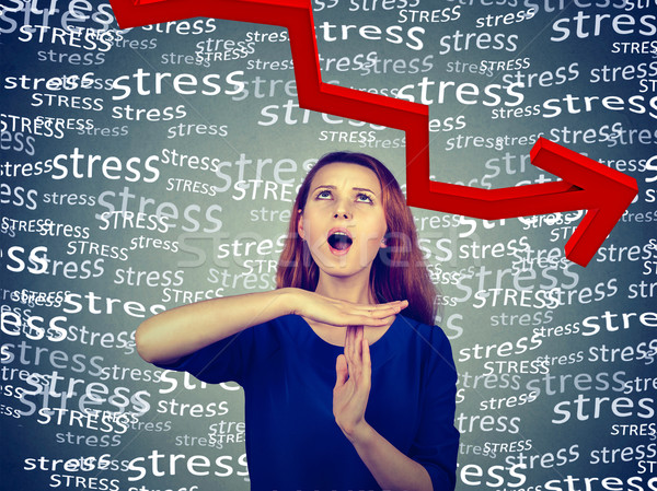 woman showing time out hand gesture, frustrated screaming to stop stress  Stock photo © ichiosea