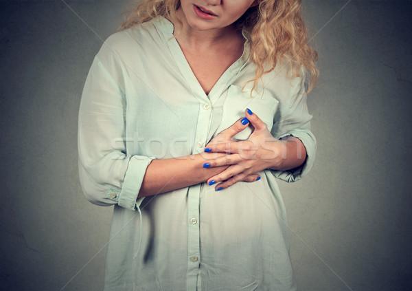 Ziek vrouw hartaanval pijn aanraken borst Stockfoto © ichiosea