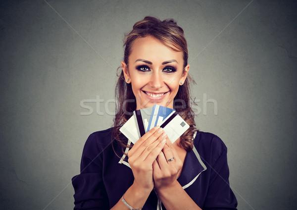 Frau viele unterschiedlich Kredit Loyalität Ermäßigung Stock foto © ichiosea