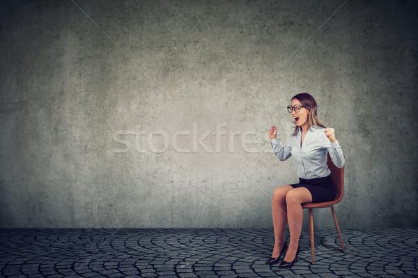 Vrouw bedrijf werknemer vergadering stoel Stockfoto © ichiosea