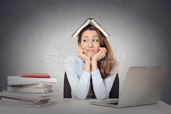 Sıkılmış kadın komik bakıyor öğrenci kitap Stok fotoğraf © ichiosea