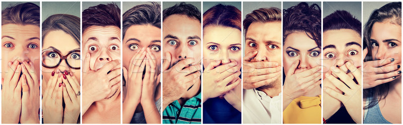 Group of shocked people men and women covering their mouth with hands  Stock photo © ichiosea