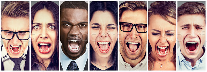 Group of angry young people screaming Stock photo © ichiosea