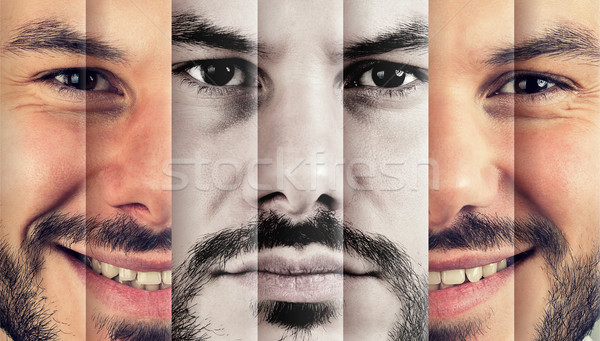 Happy man hiding real sad emotions  Stock photo © ichiosea