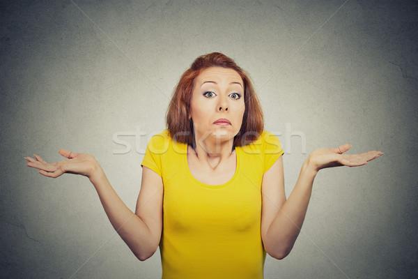 Onzeker vrouw schouders portret Stockfoto © ichiosea
