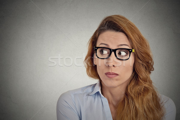 Bezorgd angstig kantoormedewerker meisje textuur muur Stockfoto © ichiosea
