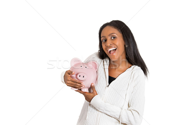 happy business woman, bank employee holding piggy bank Stock photo © ichiosea