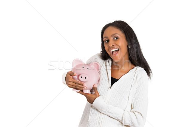 Mutlu iş kadını banka işçi kumbara Stok fotoğraf © ichiosea