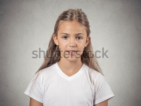 grumpy skeptical blonde woman isolated on gray background Stock photo © ichiosea