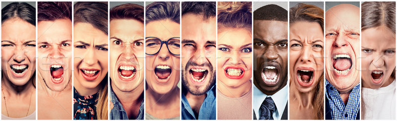 Foto stock: Enojado · personas · gritando · grupo · hombres · mujeres