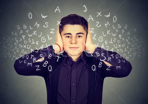 Homme oreilles écouter conversation mains fort Photo stock © ichiosea
