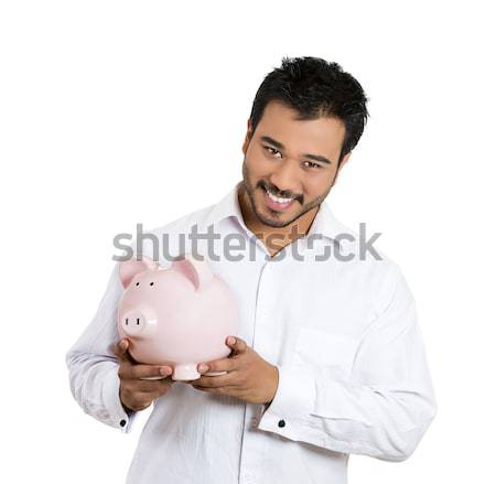 Man With Piggy Bank Stock Photo C Ion Chiosea Ichiosea