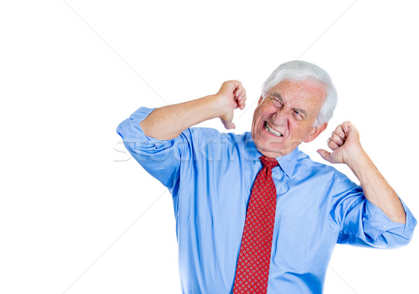 man annoyed with a loud noise Stock photo © ichiosea