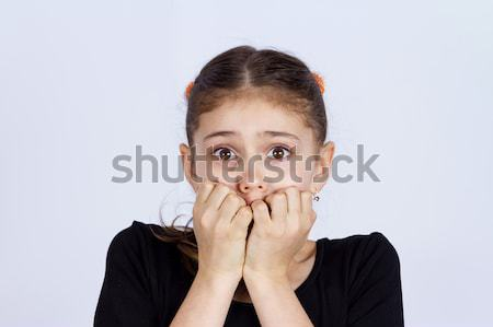 Korkmuş küçük kız portre genç Stok fotoğraf © ichiosea