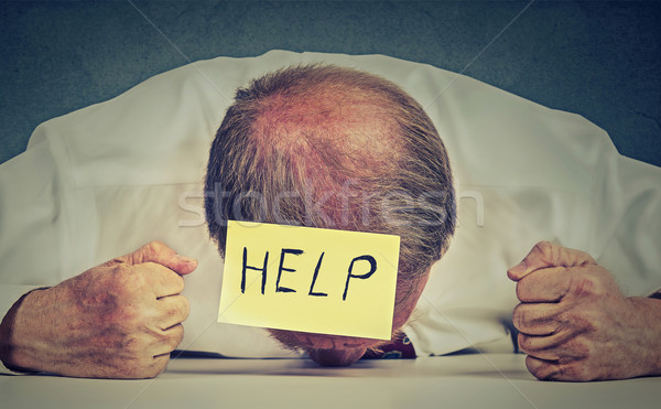 Fáradt hangsúlyos idős alkalmazott segítség csalódott Stock fotó © ichiosea