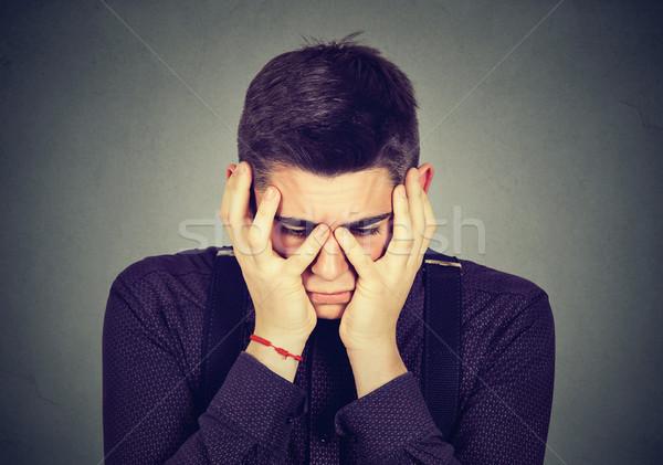 Desesperado triste homem choro mãos moço Foto stock © ichiosea