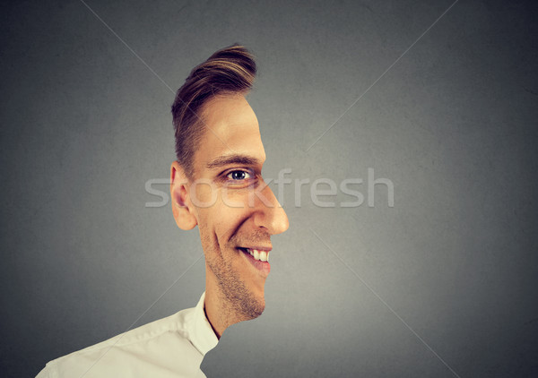 surrealistic portrait front with cut out profile of a man  Stock photo © ichiosea