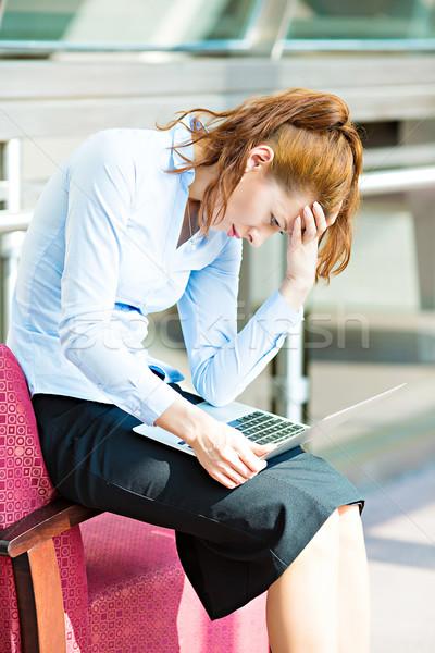 Femme d'affaires travail ordinateur portrait Photo stock © ichiosea