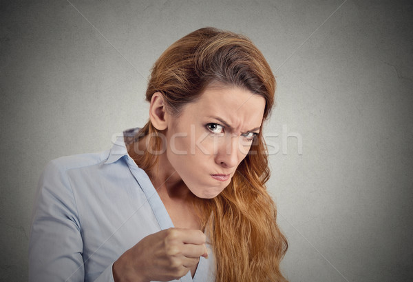 portrait angry woman on grey background. Negative emotion Stock photo © ichiosea