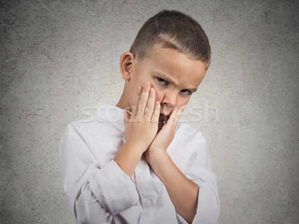 Smutne depresji zmęczony dziecko portret Zdjęcia stock © ichiosea