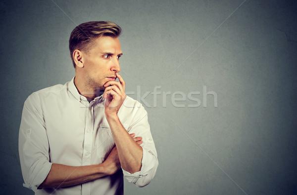 Anxieux jeune homme affaires visage bleu avenir Photo stock © ichiosea