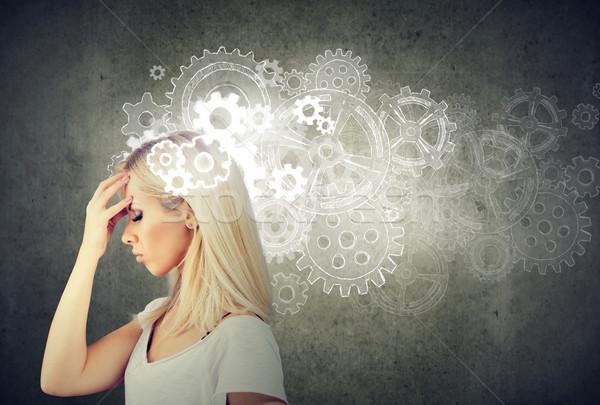 Figyelmes nő néz megoldás viselet fej Stock fotó © ichiosea