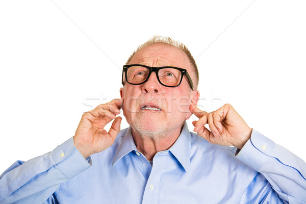 Luid portret boos senior man Stockfoto © ichiosea