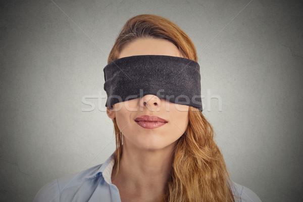 Bekötött szemű piros nő üzlet kéz arc Stock fotó © ichiosea