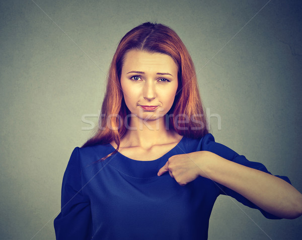 angry woman, getting mad, asking question you talking to me, you mean me? Stock photo © ichiosea