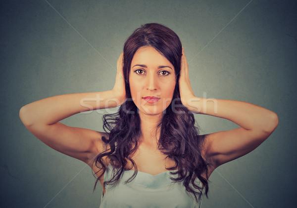 Jungen Hände Ohren geschlossen Stock foto © ichiosea