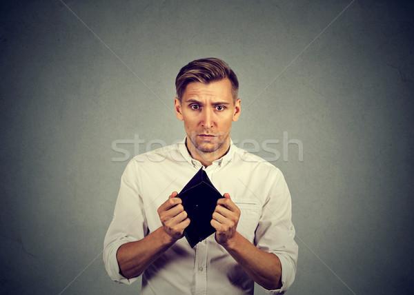 Adam hiç para işadamı boş cüzdan Stok fotoğraf © ichiosea