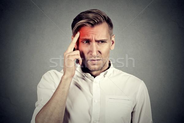 человека головная боль прикасаться голову храма Сток-фото © ichiosea