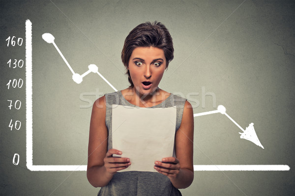 shocked woman looking at financial documents financial market chart going down Stock photo © ichiosea