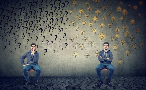 Két férfi ül egyéb egy sok kérdések Stock fotó © ichiosea