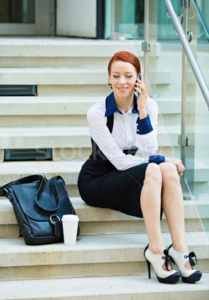 Company woman talking on smart phone on coffee break Stock photo © ichiosea