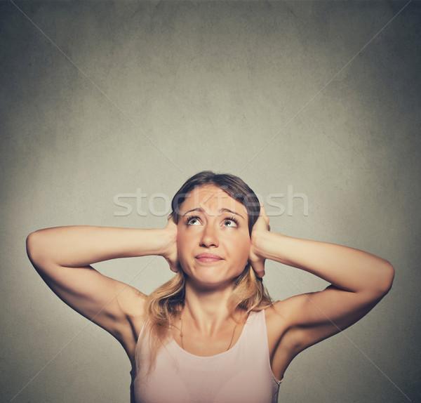 Nieszczęśliwy kobieta kłosie stop Zdjęcia stock © ichiosea