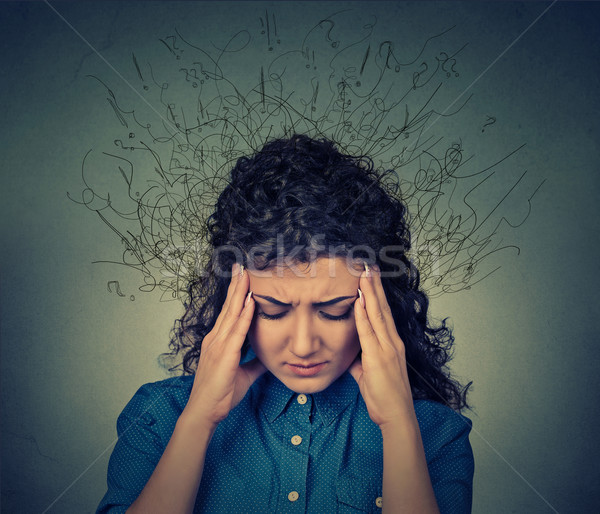 woman worried stressed face expression brain melting into lines question marks Stock photo © ichiosea