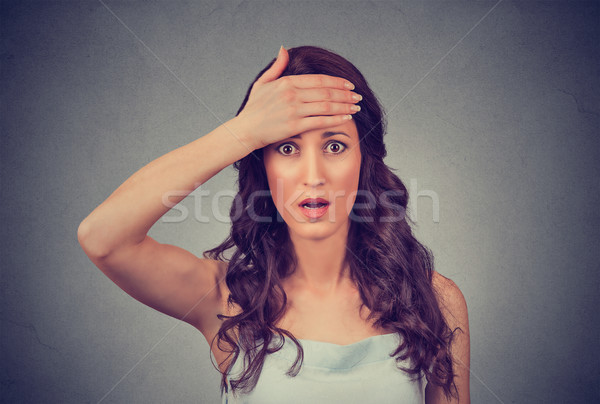 headshot terrified young business woman looking shocked, surprised, full disbelief Stock photo © ichiosea
