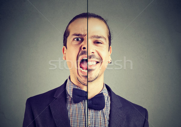 Bipolar disorder concept. Young business man with double face expression  Stock photo © ichiosea