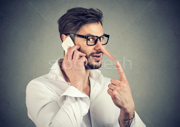 Hombre teléfono jóvenes hombre guapo largo Foto stock © ichiosea